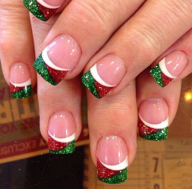 glitter christmas nails - Christmas Nail Decorations