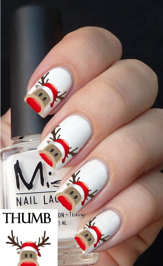 reindeer decal christmas nail design