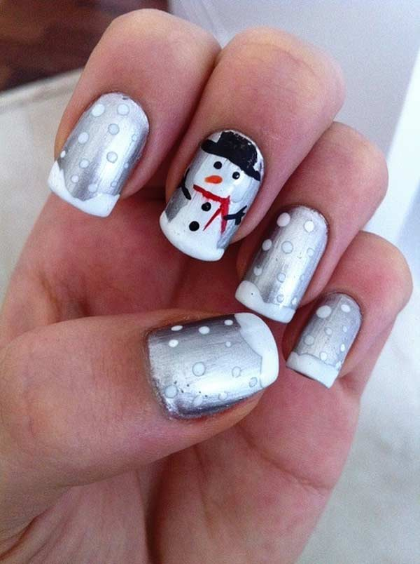 Snowman And Snow Christmas Nail Art Nail Designs For You