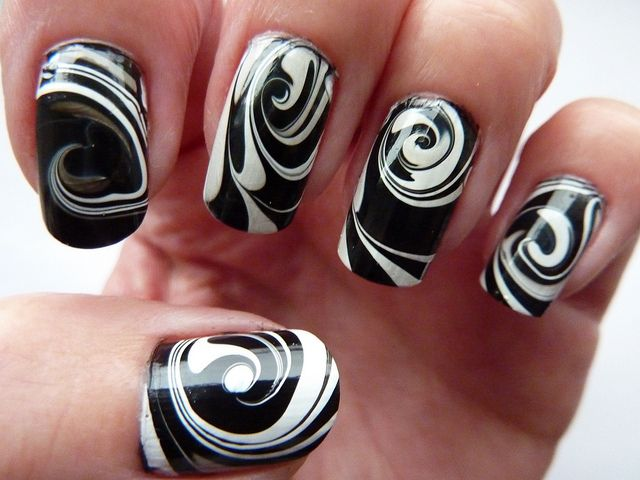 Black and White Marble Swirl Nail Designs - Black And White Marble Swirl Nail Designs - Nail Designs For You