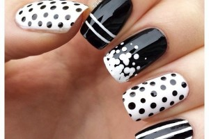 Spotted and Striped Black and White Nail Designs