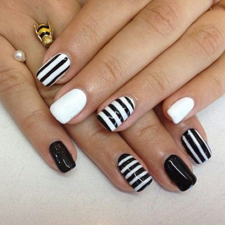 Striped Black and White Nail Designs