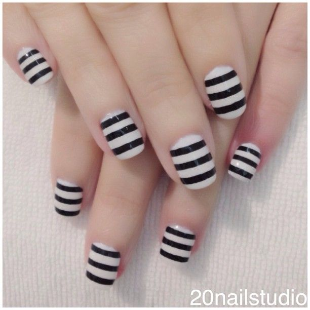 Striped Black and White Nail Design