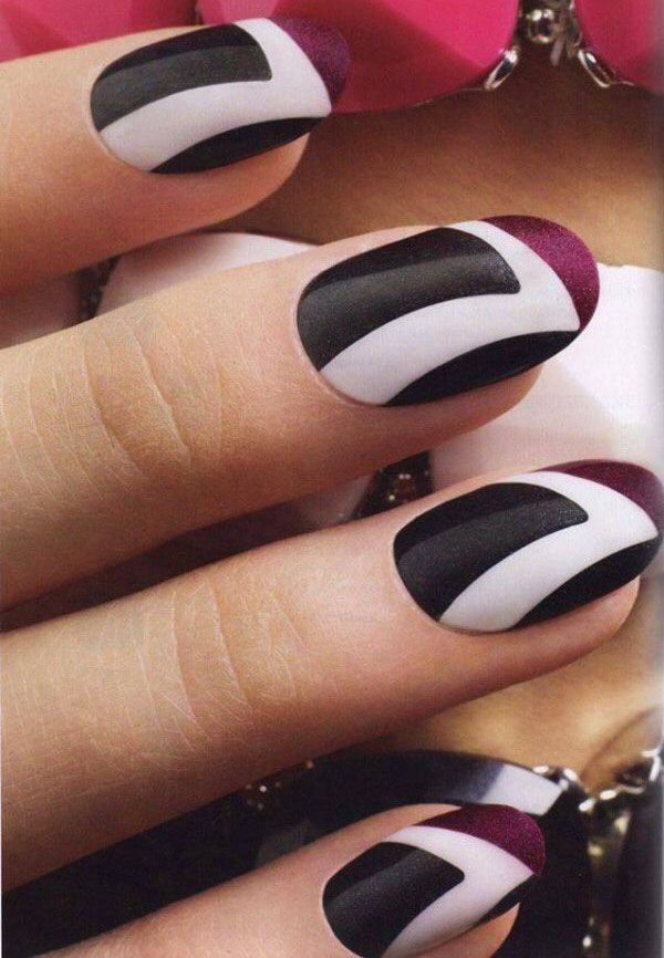 pretty black and white nail designs