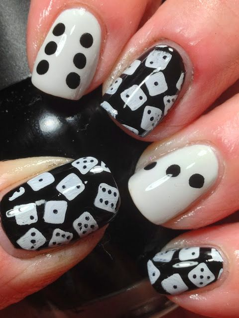 Dices Black and White Nail Designs