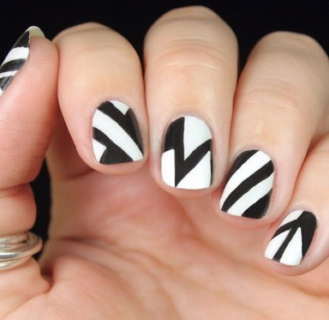 Abstract Geometric Black and White Nail Design
