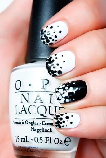 Spotted Black and White Nail Design