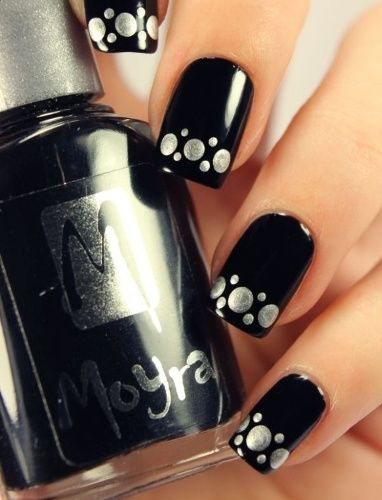 Black Nail Design with Silver Spots