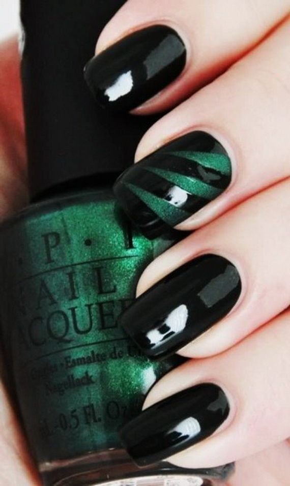 Black Nail Designs with Colorful Green Glitter Stripes
