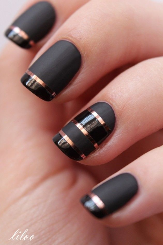 Black Colorful Nail Designs with Stripes