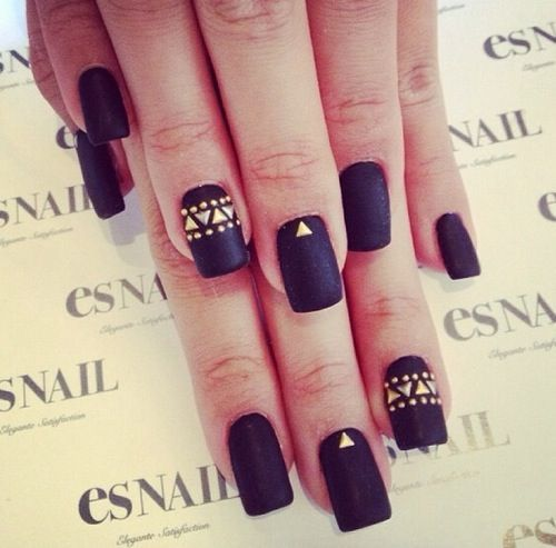 Black matte nailpolish and gold Colorful triangular design