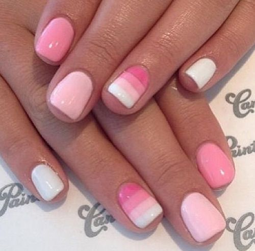Cute Pink Striped Nails