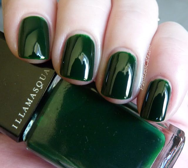 Dark Green Colorful Nail Design