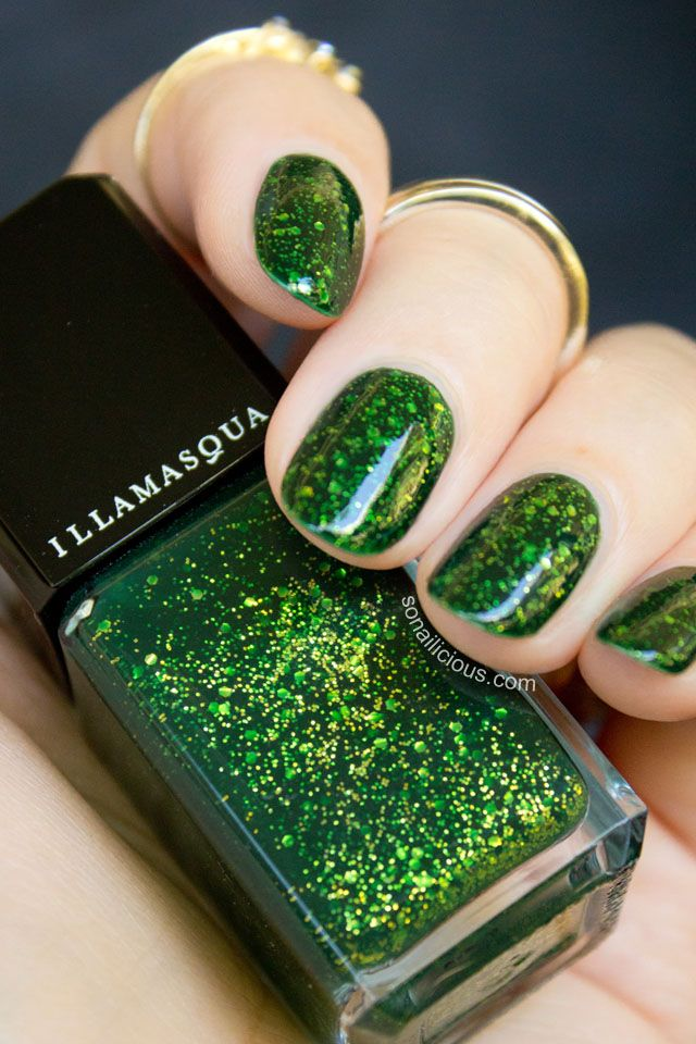 Glitter Green Colorful Nail Designs