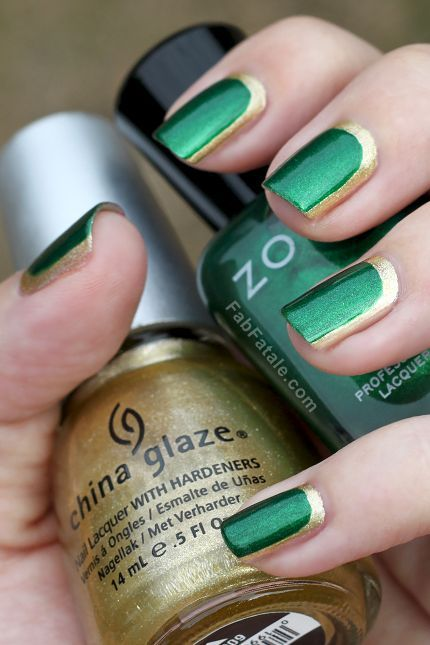 Gold and Green Colorful Nail Designs