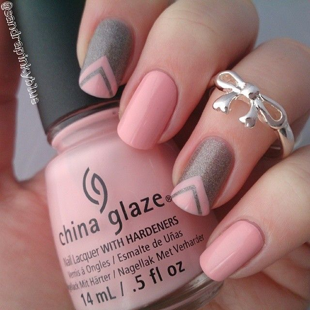 Grey and Pink Colorful Nail Designs