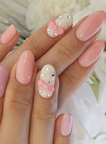 Pastel Pink and White Rounded Nails with Crystals and Bow