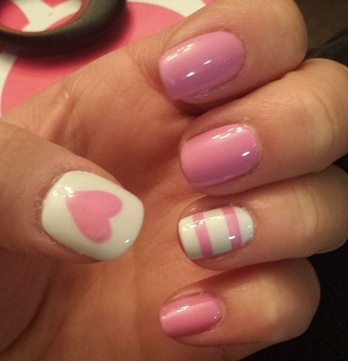 Pink Heart and Striped Nail Designs