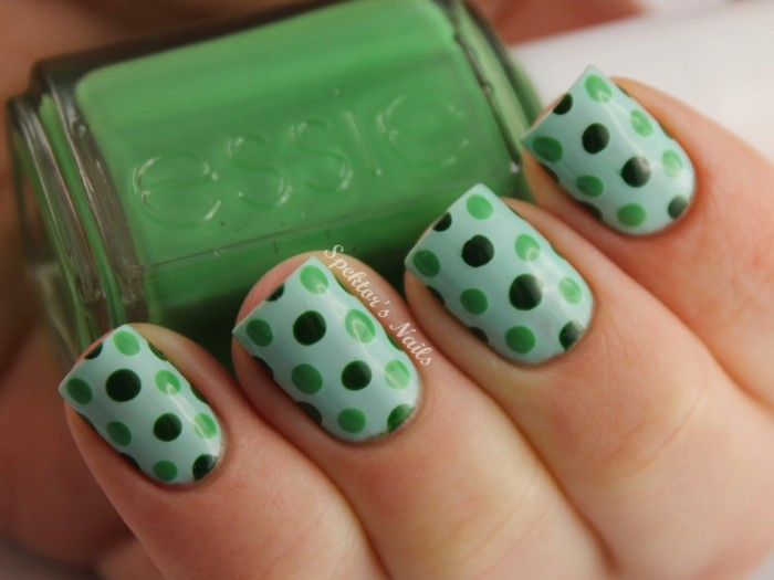 Polka Dot Green Colorful Nail Designs