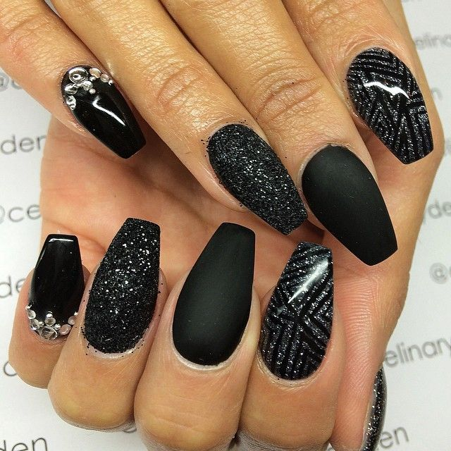 Textured Mix of Black Nail Designs
