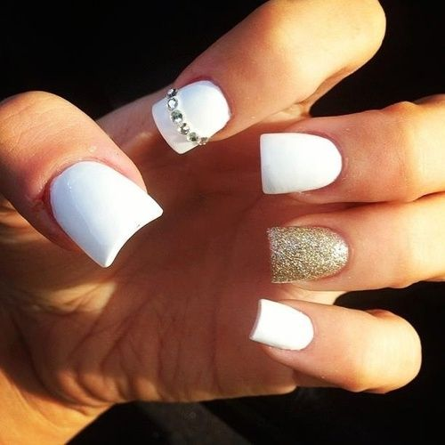 White Colorful Nail Design with Glitter and Jewels