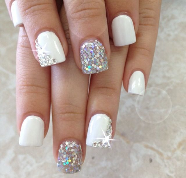 White Nails and Glitter