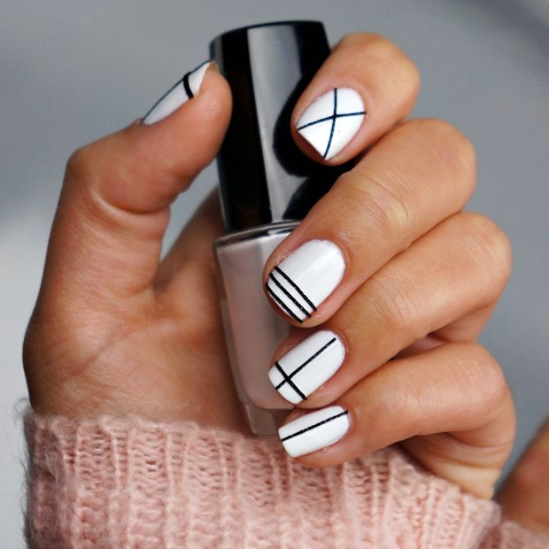 White Nails with Black Lines - Nail Designs For You