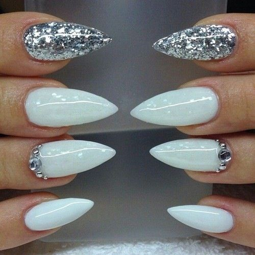 White Stiletto Nails and Jewels