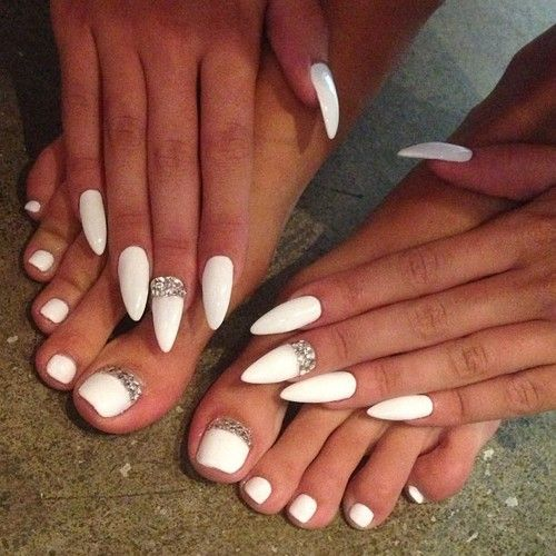White Stiletto Nails and Toenails with Jewels