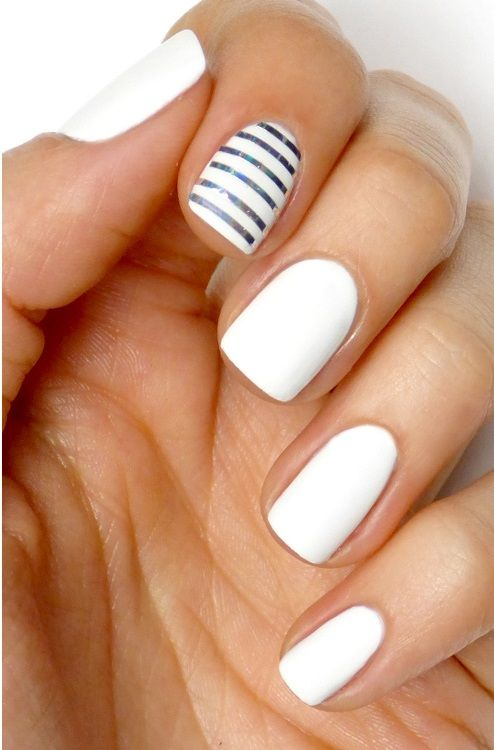 White and Silver Striped Nail Designs