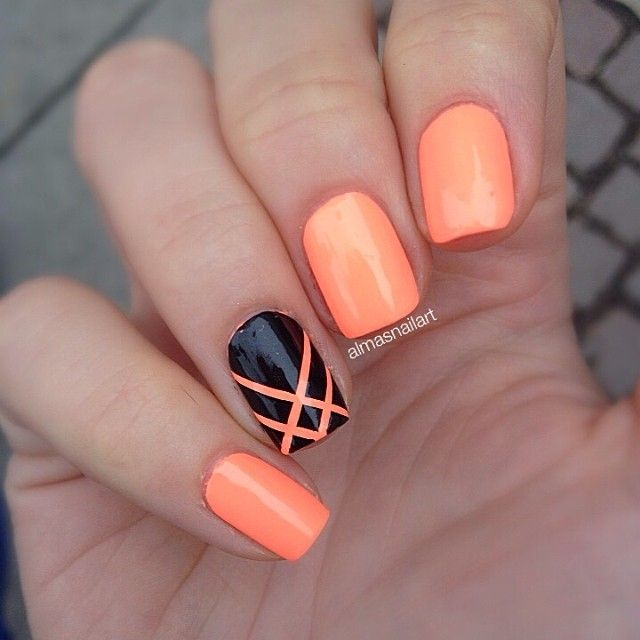 Black and Orange Nail Designs