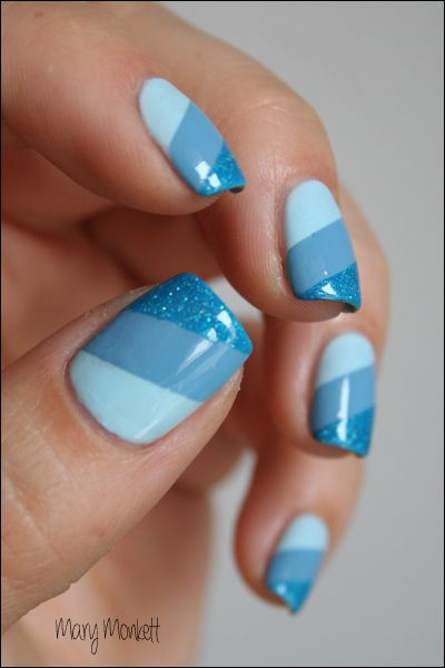 Blue Shaded Nail Designs