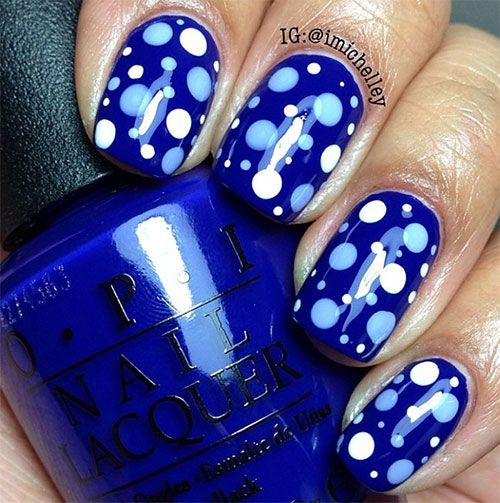 Blue Spotted Nail Designs