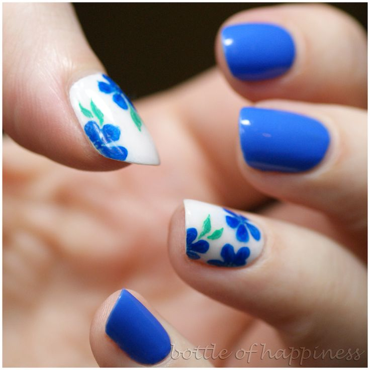Flower Nail Design with Blue Nails