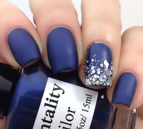 Blue and Glitter Nails