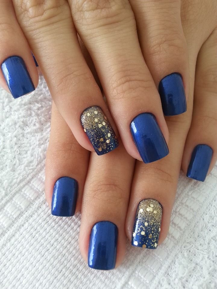 Blue and Gold Sparkle Nail Designs