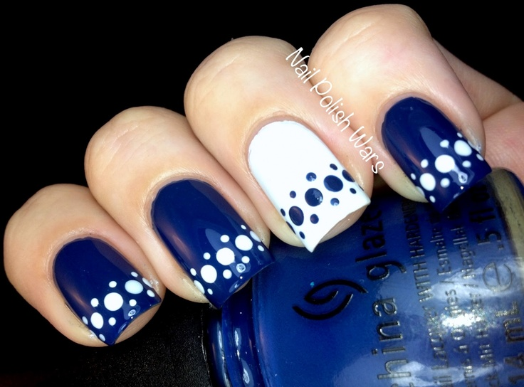 150 colorful nail designs for every color nail designs for you blue and white spotted nail design prinsesfo Images