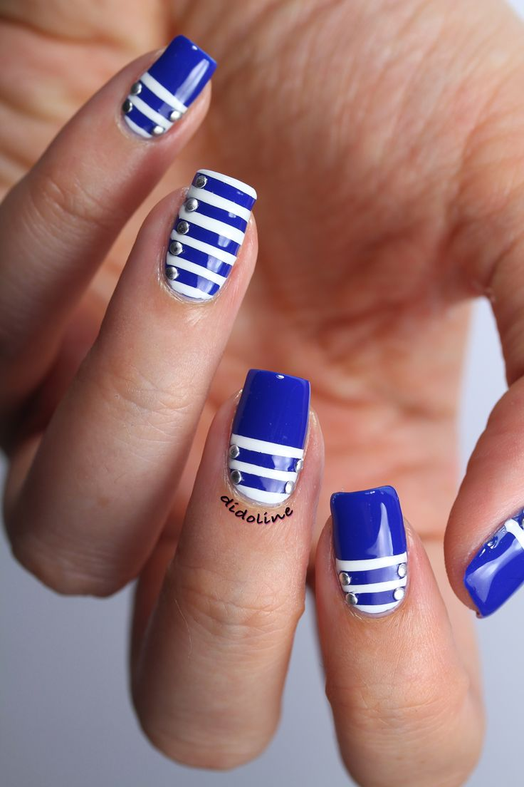 Blue and White Striped and Jewelled Nails