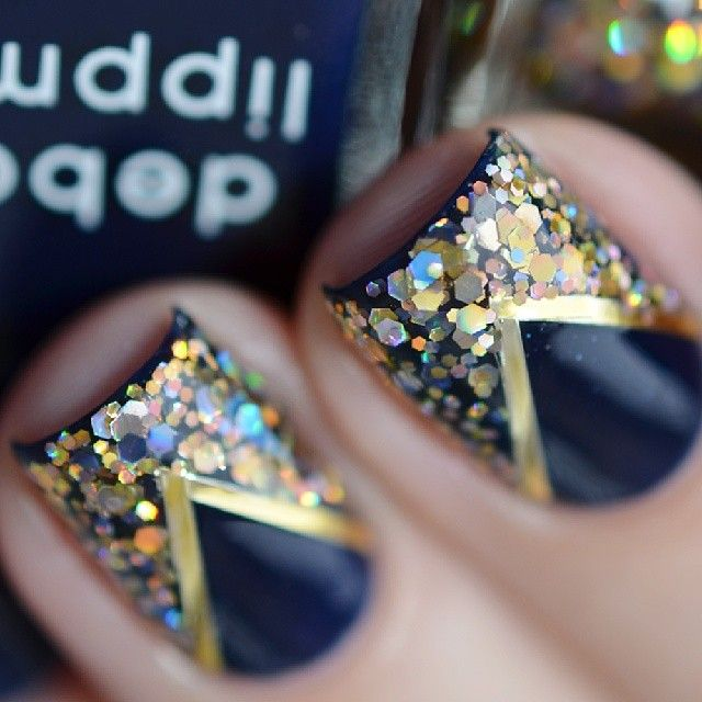 Deep Blue and Gold Glitter Nail Designs