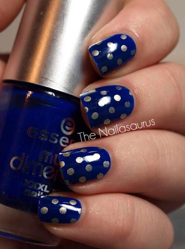 Dotted Blue Nail Design