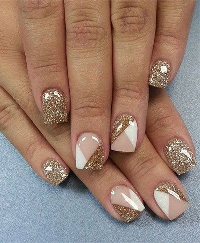 Gold Glitter and Gel Nail Design