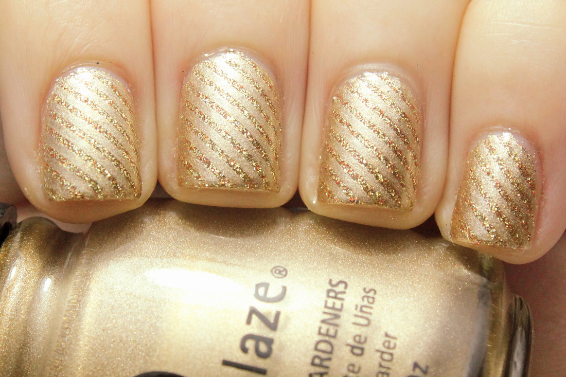 Gold and Glitter Striped Nails