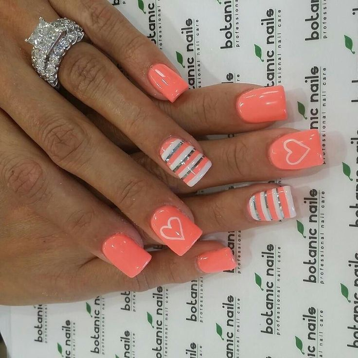 Heart and Stripe Orange Nail Designs