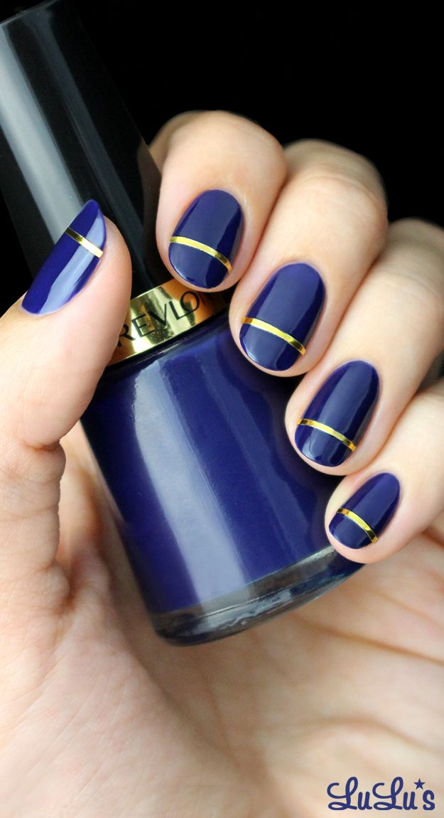 Indigo Blue and Gold Striped Nail Designs