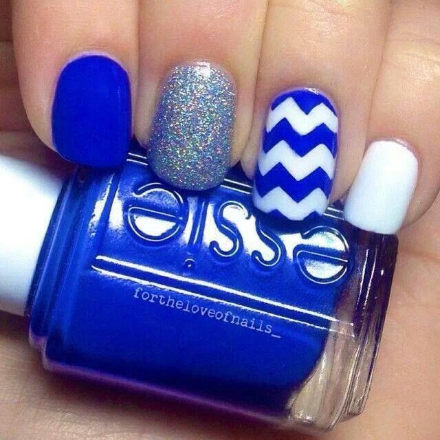 Mixed Blue Essie Nail Design