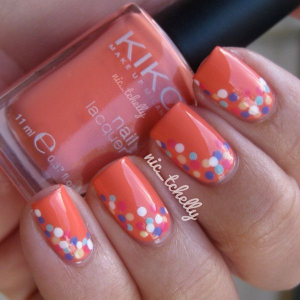 Mixed Polka Dots Orange Nail Designs