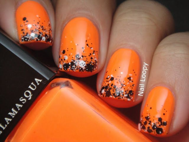 Orange Nails and ILLAMASQUA GAMMA CHALK DUST GRADIENT