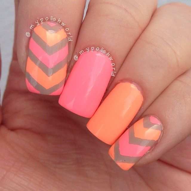 Pink and Orange Nail Designs