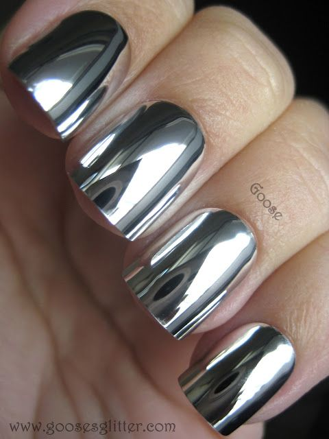 Silver Chrome Nail Design and Polish