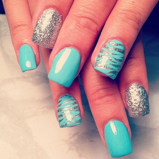 Silver and Blue Nail Designs